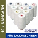 10 x Nähgarn für alle Sacknähmaschinen - Thread for Bag Closer Siruba, GK26-1, GK26-2, Newlong, Zoje, Unionspecial
